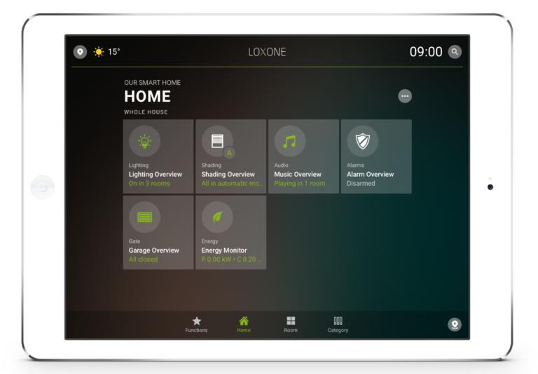 Loxone Smart Home App - Tablet - Home Tab 2